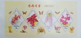O) 2007 KOREA, ORCHIDS-ONCIDIUM-CYMBIDIUM-DENDROBIUM, BEES, BUTTERFLIES, SOUVENIR DIAMOND, MNH - Korea (...-1945)