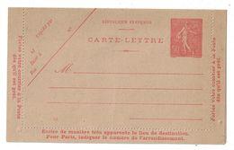 CARTE LETTRE NEUVE (ENTIER POSTAL) Au TYPE SEMEUSE 50c LIGNÉE ROUGE Avec GOMME NEUVE ** - Cartes-lettres