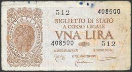 Italia/Italy/Italie: 1944, 1 Lira - [ 1] …-1946 : Kingdom