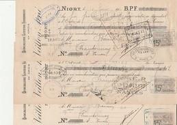 3 LETTRES DE CHANGE - QUINCAILLERIE-CLOUTERIE -FERRONNERIE -VEILLON AINE - NIORT - ANNEE 1910 - Bills Of Exchange