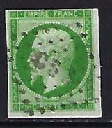 """FR YT 12 """" Napoléon III  5c.vert """" 1854 Bureaux De Paris CS3 - 1853-1860 Napoleon III"""