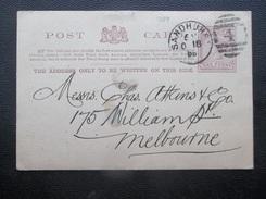 Victoria: 1889 Postal Card To Melbourne (#HT10) - 1850-1912 Victoria