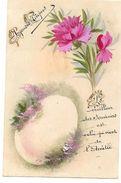 CPA En CELLULOÏDE GOUACHEE - Joyeuses Pâques - Oeuf, Oeillet - Le Meilleur Souvenir Est Celui Qui Vient De L'Amitié - Easter