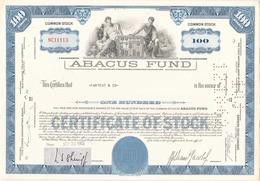 Etats-Unis Action De Abacus Fund à Massachusetts Du 25 Septembre 1962 - Industrie