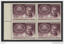 INDIA, 1970,   International Education Year, Dr Maria Montessori, Educationist, Block Of 4, MNH, (**) - Nuovi