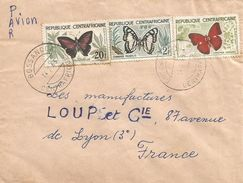 Centrafrique RCA CAR 1963 Bossangoa Charaxes Nobilis Cymothoe Sangaris Blood-red Glider Misspelling Name Butterfly Cover - Vlinders