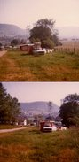 Photo Couleur Originale Voiture Break Et Caravane Sur Le Toit Vers 1970 - Camping Idéal - Caravane Et Linge Qui Sèche - Cars