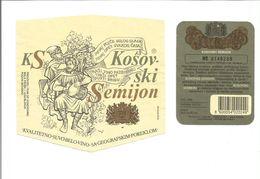 """Etiquette De VIN DE YOUGOSLAVIE """" Kosovski Semijon """" - Rode Wijn"""