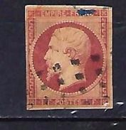 "FR YT 18 "" Napoléon III 1F. Carmin "" 1853 Roulette Points Carrés - 1853-1860 Napoleon III"