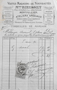 Facture De La Maison RIEUSSET Magasins De Nouveautés à Mme Charles AURIOL Montpellier - Timbrée Et Datée 14.06.1890 - BE - France