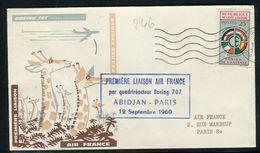 Côte D' Ivoire - Enveloppe 1 Er Vol Par Boeing 707 Abidjan / Paris En 1960 - Réf 246 - Ivory Coast (1960-...)