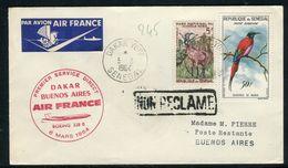Sénégal - Enveloppe 1 Er Vol Air France Par Boeing 328B  Dakar / Buenos Aires En 1964 - Réf 245 - Sénégal (1960-...)
