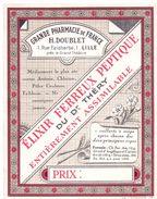 Etiket Etiquette - Elixir - Grande Pharmacie De France - H. Doublet -  Lille - Etiquettes