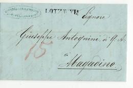 10261 HELVETIA SVIZZERA SUISSE SCHWEIZ LOTZWYL Via LARGENTHAL RO MAGADINO - WITH TEXT 1852 - 1843-1852 Timbres Cantonaux Et  Fédéraux