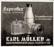 Original-Werbung/ Anzeige 1949 - REPROFLEX KAMERA / KARL MÜLLER - MEMMINGEN - Ca. 45 X 40 Mm - Publicités