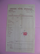 Document   Grand Hôtel Splendide Genova  Signor Denis  Avec Timbres Fiscaux 1936    à Voir - Italy