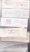 LOTE 125 F.M.(RECORTADOS 15x5) AÑOS 80/90, 13 MUNDIALES CON SELLO 1952 A 1981, 11 SOBRES FLAMES MUNDIALS Y 15 F.M.MUNDIA - Machine Stamps (ATM)