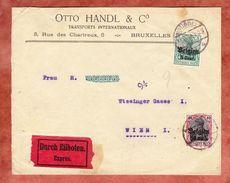Landespost In Belgien: Eilboten, Otto Handl, MiF Germania, Bruessel Nach Wien, Bestell-Stempel 1917 (41267) - Deutschland