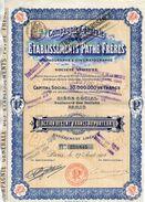 ACTION COMPAGNIE GENERALE DES ETABLISSEMENTS PATHE FRERES Action De Cent Fancs Au Porteur  AVRIL 1912 - Cinéma & Théatre