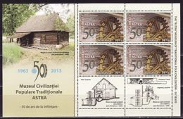 Romania, 2013, Watermill,Folk Traditional  Museum SIBIU ,s/s Block Minisheet - 1948-.... Républiques