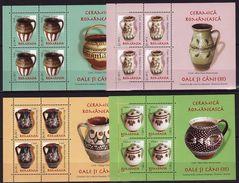 Romania, 2008, Definitives, Pottery, Pots, Art 4 Minisheets - 1948-.... Républiques