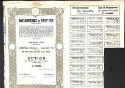 Lot De 4 Titres Boulonneries Du Haut-Pré, Liège, 1944 - Actions & Titres