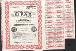 Lot De 2 Titres SIFAR, Sociedad Industrial Financiera Argentina (1961, 20 Acciones) - Actions & Titres