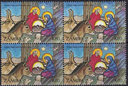B0741  ZAMBIA 1992, SG 709  K90 Christmas  Nativity, MNH Block Of 4 - Zambie (1965-...)