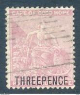Cape Of Good Hope 1880. 'THREE PENCE' On 4d Pale Dull Rose (wmk.CC). SACC 30, SG 35. - Südafrika (...-1961)