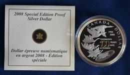 Kanada 2008 Silber Dollar 100 Years Ottawa Mint KM 781, PP Teilvergoldet (m1286) - Canada