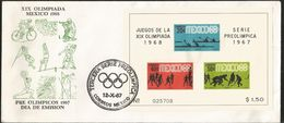 J) 1967 MEXICO, XIX OLYMPICS OF MEXICO 68, PRE-OLYMPICS 67, MULTIPLE STAMPS, DANCING, CYCLING, SWIMING, KAYAK, FUTBOL, S - Mexico