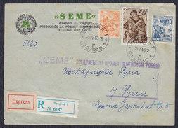 Yugoslavia Croatia 1956 Triptych, Dubrovnik, Registered Letter, Express, Beograd - Ruma - 1945-1992 Socialist Federal Republic Of Yugoslavia