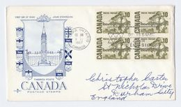 1967 CANADA FDC The JACK PINE TREE Block 4 X 10c Stamps Cover To GB - Trees