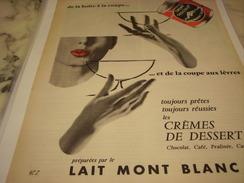 ANCIENNE PUBLICITE CREMES DE DESSERT  LAIT MONT BLANC 1956 - Affiches