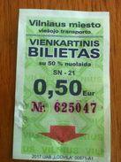 Lithuania Vilnius One Way Ticket - Bus 2017 - Europa