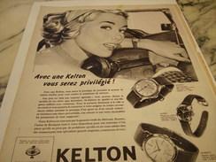 ANCIENNE PUBLICITE MONTRE KELTON  1959 - Autres