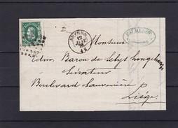 N° 30 / Lettre (lac ) D Anvers Adressee Au BARON DE SELYS LONGCHAMPS SENATEUR - 1869-1883 Leopold II