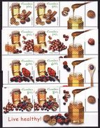 Romania, 2013 For A Healthy Lifestyle, Honey, Nuts 4 Stamps X 2 With Labels - Food