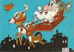 """Biglietto Natalizio Umoristico """"Santa Claus Su Slitta Trainata Da Cerbiatti"""" Illustratore R.G., Illustrazioni - Religión & Esoterismo"""