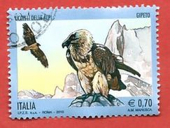 ITALIA REPUBBLICA USATO - 2013 - Uccelli Delle Alpi - Gipeto - € 0,70 - S. 3455 - 2011-...: Usati