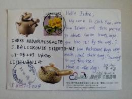 Post Card China Taiwan Animals Swans Birds Flowers Pottery - 1945-... République De Chine