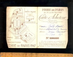 Carte D'acheteur à La FOIRE DE PARIS 1947 Matériel Pour Confection - Karten