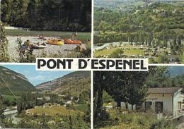 CPM. PONT D'ESPENEL . L'AUBERGE DU PONT ET SON CAMPING . AFFR LE 20-7-1992 AU VERSO . 2 SCANES - France