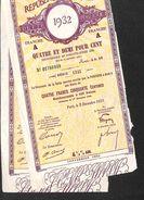 Lot 2 Titres - République Française - Dette Publique Rente 4 Fr 50, Paris 1932 - Actions & Titres