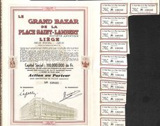 Lot 26 Titres - Le Grand Bazar De La Place Saint-Lambert, Liège, Action Au Porteur 1944 - Actions & Titres