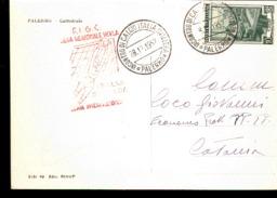 CARTOLINA VIAGGIATA ANULLO SPECIALE ROSSO LEGA REGIONALE SIciliana 1952 Sul Retro Duomo Di Palermo - Calcio