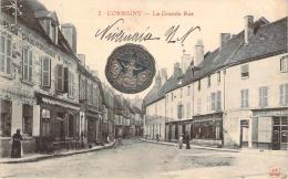 58 - Corbigny - La Grande Rue (café, Pharmacie Mignot) (Pastille En Métal Noel Noel, Dieu Protège La France) - Corbigny
