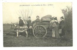 13 EN PROVENCE CUEILLETTE DES OLIVES ARLESIENNES ATTELAGE ANE BOUCHES DU RHONE EDITEUR BRUN CARPENTRAS - Arles