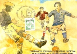 CARTOLINA CON ANNULLO SPECIALE MONTEGLIANO (UD) 1993 CAMPIONATO ITALIANO DI FILATELIA SPORTIVA - Calcio