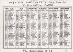 CALENDRIER 1917 - Calendars